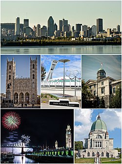 Clockwise from top: Downtown Montreal as seen from the Champlain Bridge; McGill University; Saint Joseph's Oratory; the Old Montreal featuring the Montreal Clock Tower and the Jacques Cartier Bridge during the Montreal Fireworks Festival; a view of the Notre-Dame Basilica from Place d'Armes; and the Olympic Stadium.