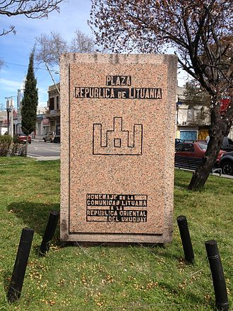 Lithuanian Uruguayans - Memorial in the Republic of Lithuania Square, Montevideo, featuring the traditional Columns of Gediminas.