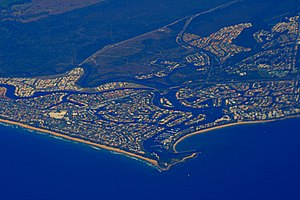 Mooloolah River - Aerial photo of Mooloolaba showing river mouth and canals, 2007