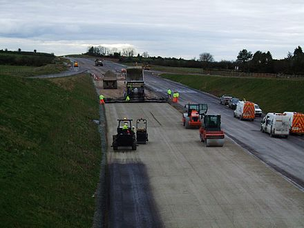 Sub-base layer composed of cement-based material being applied during construction of the M8 motorway in Ireland Motorway construction in Ireland.JPG