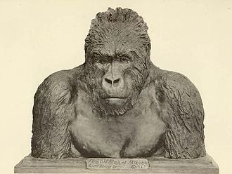 """Carl Akeley - """"The Old Man of Mikeno"""", bronze bust of a mountain gorilla by Carl Akeley"""