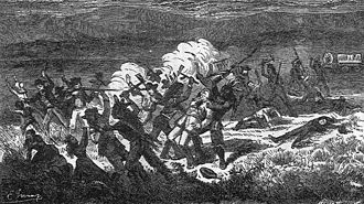 The Mountain Meadows massacre was conducted by Mormons and Paiute natives against 120 civilians bound for California. Mountain Meadows Massacre.jpg