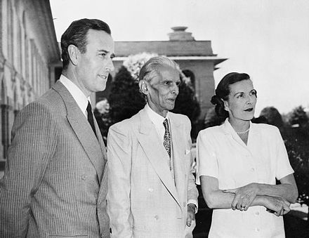 Lord Mountbatten of Burma, the last Viceroy of India, with his wife and Pakistani leader Muhammad Ali Jinnah