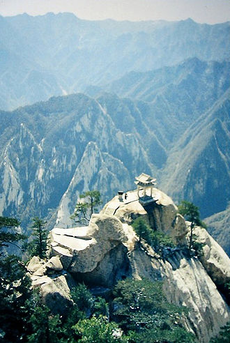 Mount Hua - The chess pavilion, from the top of the East peak