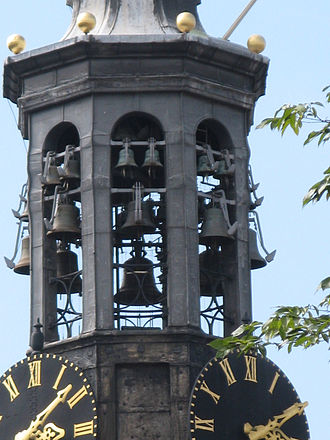 Munttoren - Carillon in the Munttoren with hammers for automatic chimes on the outside of the bells