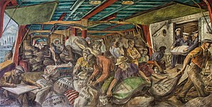 Reginald Marsh (artist) - Unloading the Mail, Mural in the William Jefferson Clinton Federal Building