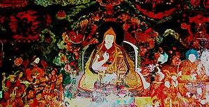 Sonam Rapten - Image: Mural at Samye Monastery, Tibet, showing the 5th Dalai Lama flanked by Gushri Khan and Sonam Chopel, aka Rapten