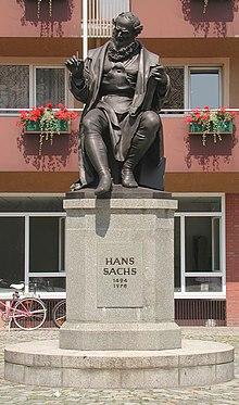 Hans-Sachs-Denkmal auf dem Nürnberger Hans-Sachs-Platz (Quelle: Wikimedia)