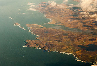 Loch Gruinart - Loch Gruinart (center) and northwest Islay from the air. Ardnave Point and Nave Island at left center.