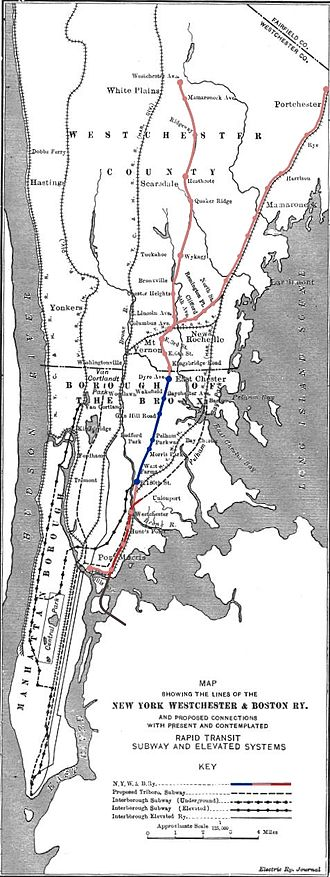 New York, Westchester and Boston Railway - Route map