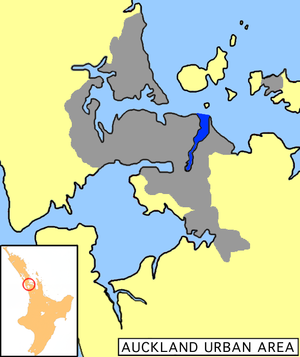 Tamaki River - Tāmaki River shown in dark blue