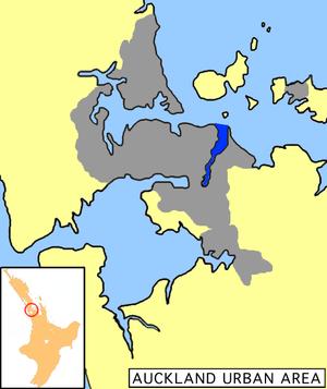 Tamaki River - Tāmaki River shown in dark blue