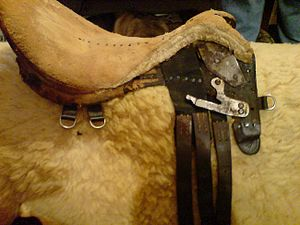 English saddle - A saddle with most leather removed, showing tree and seat padding