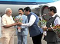 Narendra Modi being received by the Governor of Maharashtra, Shri C. Vidyasagar Rao, the Chief Minister of Maharashtra, Shri Devendra Fadnavis and the Union Minister for Road Transport & Highways and Shipping.jpg