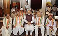 Narendra Modi with the Freedom Fighters, during the 'At Home' function, hosted by the President, Shri Ram Nath Kovind, on the occasion of 75th Anniversary of the Quit India Movement, at Rashtrapati Bhavan, in New Delhi.jpg