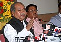 Narendra Singh Tomar addressing a press conference to mark the completion of one year of the NDA government, in Bhopal on June 08, 2015. The Minister of State for Mines and Steel, Shri Vishnu Deo Sai is also seen.jpg