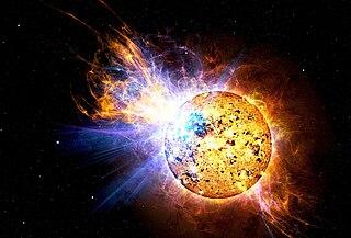 Künstlerische Darstellung des EV-Lacertae-Flares