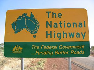 National Highway (Australia) - Road sign of the National Highway.