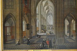 Vue intérieure d'église, inspirée de la cathédrale d'Anvers