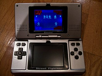 Video game clone - Neo Double Games. This is an unofficial handheld game console cloning the look of a Nintendo DS and featuring simple, LED games.