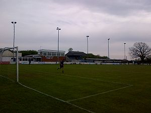 Billericay Town F.C. - The clubhouse, main stand and The Cowshed at New Lodge, 2014