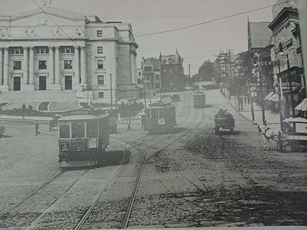Newark Trolley line on Market Street near the present-day courthouse NewarkTrolleyCourthouse.jpg