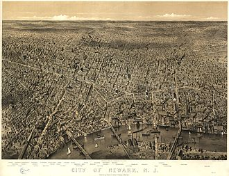 Newark, New Jersey - 1874 bird's-eye view of Newark