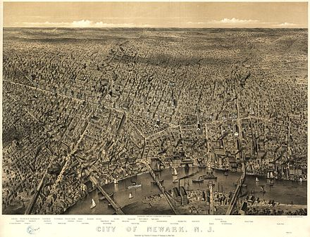 View of New Jersey's largest city, Newark, 1874 Newark NJ 1874.jpg