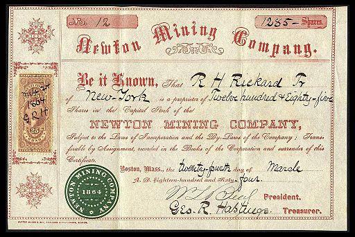 Newton Mining Co stock 1864