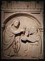 Niccolò di cecco del mercia, rilievi dell'antico pulpito di prato, 1359-60, tommaso consegna la cintola a un sacerdote 01.jpg