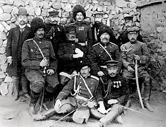 Nogi Maresuke - General Nogi is seated in the center next to Russian general Anatoly Stessel after Russian forces surrendered at Port Arthur on 2 January 1905.