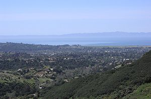 """Noleta - The """"Noleta"""" area, looking south from the lower slopes of the Santa Ynez Mountains"""