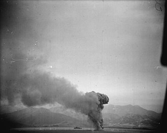Hampshire Yeomanry - Ammunition exploding as SS Cathay is sunk off Bougie, 12 November 1942.