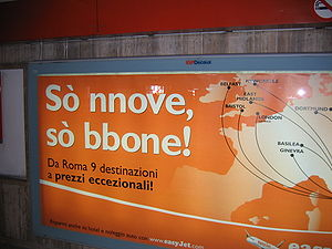 Romanesco dialect - Advertisement in Romanesco at a subway station in Rome