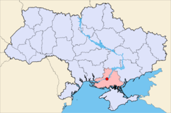 Map of Ukraine with Nova Kakhovka highlighted.