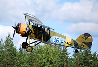 Gloster Gauntlet - An ex-Finnish Air Force Gloster Gauntlet Mk II, GT-400, taking off at Selänpää Airfield