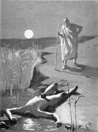 Æsir–Vanir War - Óðinn with Mímir's body, illustration by Georg Pauli (1893)