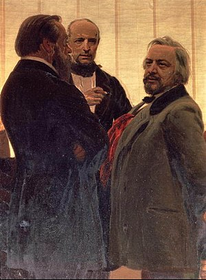 Mily Balakirev - Portrait of (left to right) Balakirev, Vladimir Odoevsky and Mikhail Glinka by Ilya Repin. The painting is somewhat anachronistic – Balakirev is depicted as a man approaching middle age, with a full beard; however, Glinka died in 1857, when Balakirev was only 20 years old.