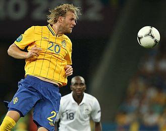 Ola Toivonen - Toivonen playing for Sweden at UEFA Euro 2012.