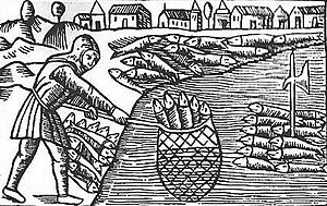 Woodcut depicting herring fishing in Scania
