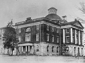 William Nichols (architect) - The Old Alabama State Capitol building in Tuscaloosa, Alabama. Completed during the late-1820s and destroyed in 1923. Stabilized ruins of the central rotunda and architectural fragments remain in situ.