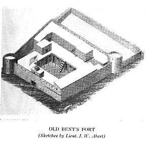 William Bent - Old Bent's Fort, Sketch by Lt. James Abert, published 1914
