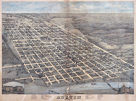 An 1873 illustration of Edwin Waller's layout for Austin Old map-Austin-1873-sm.jpg