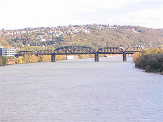 Jones and Laughlin Steel Company - Hot Metal Bridge, formerly used by Jones and Laughlin to transport steel across the Monongahela River