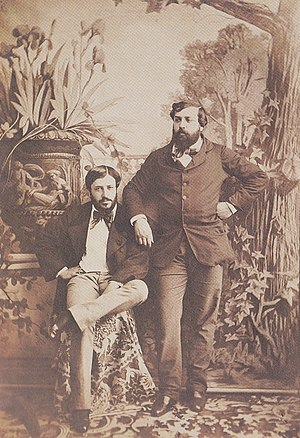 Olympe Aguado - Olympe Aguado (right, standing), with his brother, Onésipe, c. 1853