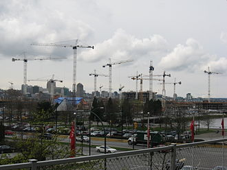 Venues of the 2010 Winter Olympics - The Olympic Village being constructed on the southeastern shore of False Creek near downtown Vancouver