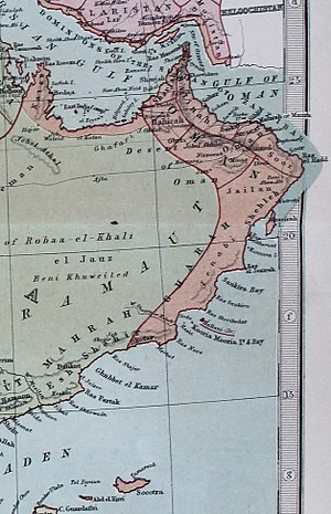 Al Batinah Region - Image: Oman 1873 map (cropped from original atlas page)