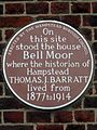 On this site stood the house Bell Moor where the historian of Hampstead Thomas J. Barratt lived from 1877 to 1914.jpg