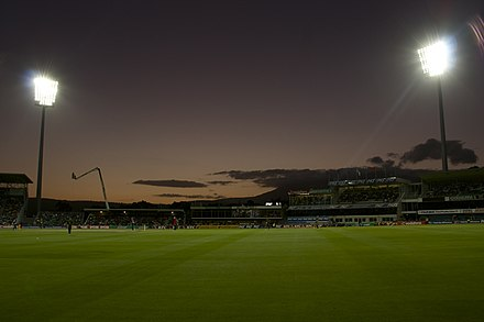 Bellerive Oval at night, during the one-day cricket Australia vs England. One-day Cricket Australia vs England, Bellerive Oval, January 2011 (2).jpg