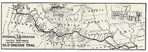 Independence, Missouri - A map of the Oregon Trail, marking Independence.